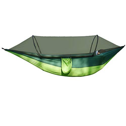 LJYTWPZYS Hamaca al aire libre, puntal automático de tela de paracaídas individual y doble, ultraligero, accesorios de camping y cama oscilante de mosquitero
