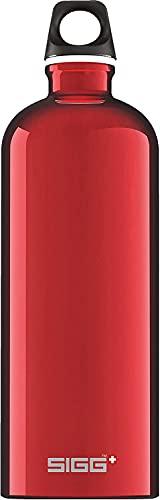 SIGG Traveller Red Borraccia alluminio (1 L), Borraccia 1 L ermetica e priva di sostanze nocive, Borraccia acqua leggerissima in alluminio