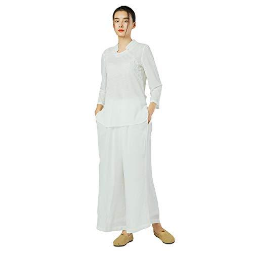 KSUA Abbigliamento da Donna Tai Chi Uniforme da Meditazione Zen Abbigliamento Tradizionale Cinese in Cotone Kung Fu con Maniche a Tre Quarti, Colletto rialzato EU S/Etichetta M