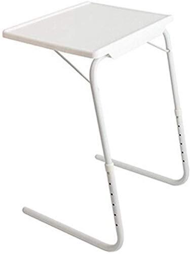 Mesa de ordenador portátil simple multifunción plegable con ajuste de altura, escritorio de computadora junto a la cama, sofá portátil, mesa de sobrecama, mesa portátil (color: blanco)