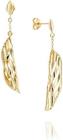 14k Solid Gold Dangling Earrings - Folded Leaf Style Drop Earrings - Long Dangle Earrings - Mother's Day Gift (3.6g, 1.8 in)