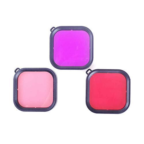 3pcs 45M Underwater Waterproof Case Diving Filter Red Pink Purple Filters Dive...
