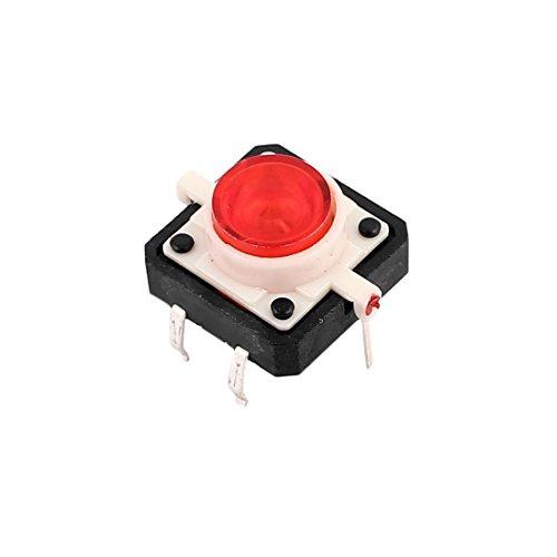SOURCING MAP sourcingmap 12mm x 12mm Botón Interruptor de Panel táctil momentáneo PCB DIP de 6 pines w LED