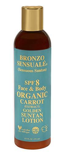 Bronzo Sensuale SPF 8 Sunscreen Deep Golden Tanning Organic Carrot Lotion 8.5 Ounce