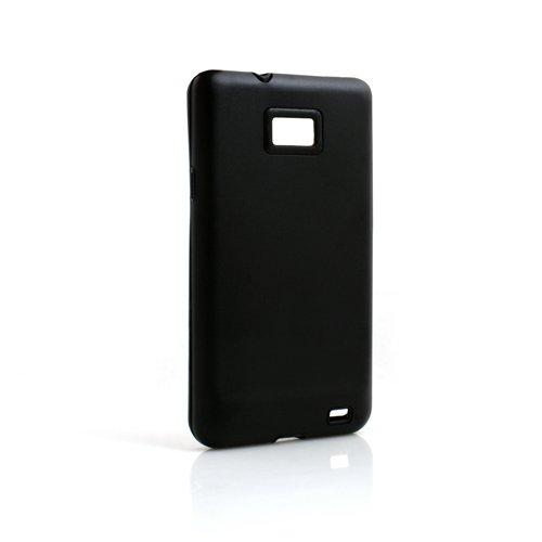 System-S Schutzhülle Protector Hard Hülle Tasche Hülle Hard Cover Hartschale in Schwarz für Samsung Galaxy S2 i9100