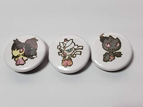 Custom 1' inch Buttons - Mega Mawile, Mega Medicham, and Mega Banette Set - Custom Made - Pin Back - Gift Party Favor Vmax GX EX