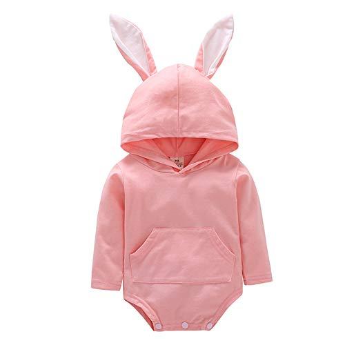 Fairy Baby Baby Girl Easter Bunny Costume Tuta Orecchio con Cappuccio Tuta Abiti Vestito Carino Size 100(18-24 Mesi) (Rosa)