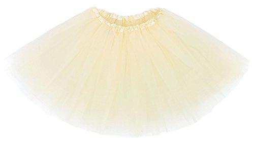 Simplicity Women's Classic Elastic 3 Layered Tulle Running Tutu Skirt, Cream