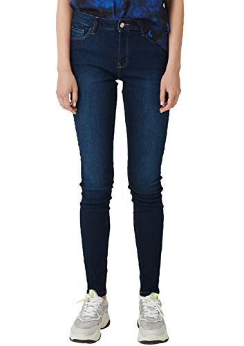 Q/S designed by Damen Sadie Superskinny: Stretchjeans Dark Blue Denim Heavy Stone Washed 36.30