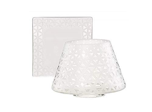 Yankee Candle Belmont lampenkap en bord, glas, wit, large