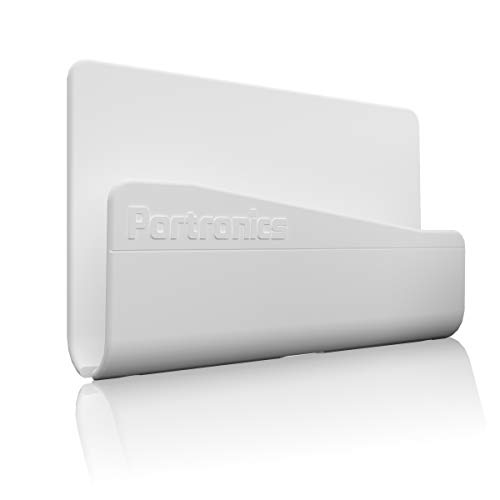 Portronics Modesk 101 Wall Hanging Mobile Holder with Adhesive Strips, Charging Holder Compatible with iPhone, Smartphone and Mini Tablet (White)