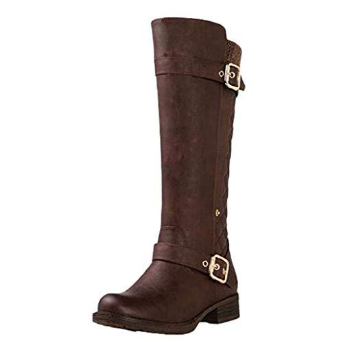 Damen hohe Stiefel Mode gürtelschnalle seitlicher reißverschluss nähen elastische Stiefel YunYoud Frauen Winter schnürschuhe schöne stulpenstiefel
