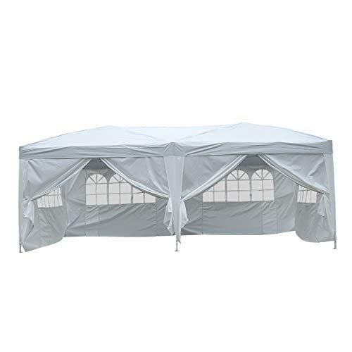 HOMCOM Outsunny 3x6 m Faltpavillon Pavillon Faltzelt Partyzelt Gartenzelt inkl. 6 Seitenteile Weiß