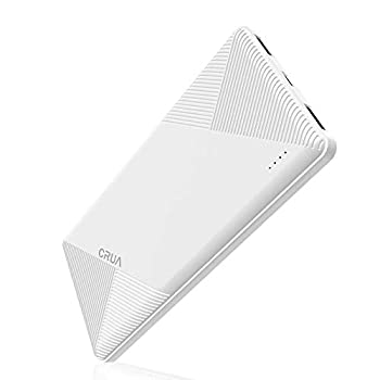 Power Bank CRUA Lightest 10000mah Portable Charger Fast Charging with USB Battery Pack Dual Output & Input Port Compatible with Cell Phone iPhone Android,Tablet Laptop Watches,Neckbands -White