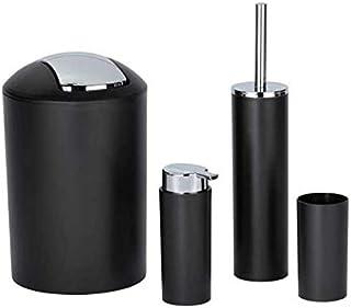 Wenko Set Accessoires Salle de Bain Calvo: Distributeur de Savon Liquide, gobelet Brosse à dent, Brosse WC, Poubelle Salle...