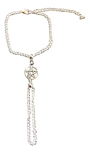 dunns-jewels Pentagram Slave Chain Hand Harness Silver Plated Bracelet ~ Goth Witch Pagan