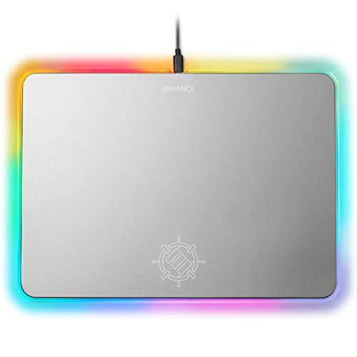 ENHANCE Metal LED Gaming Mouse Pad - Large Aluminum Alloy Surface with Multi-Color Transparent Edges, Non-Slip Rubber Grip, Sleek Precision Tracking for Esports - Silver