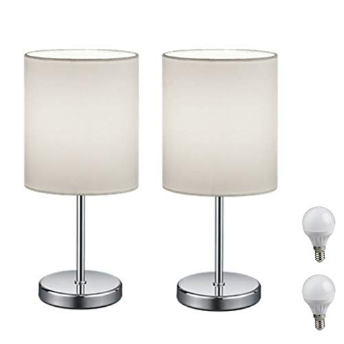 2er Set LED Nachttischlampe, LED Tischlampe Tischleuchte mit Stoffschirm (weiß) für Schlafzimmer, Wohnzimmer, Arbeitszimmer, Beistelltisch incl. 3W LED