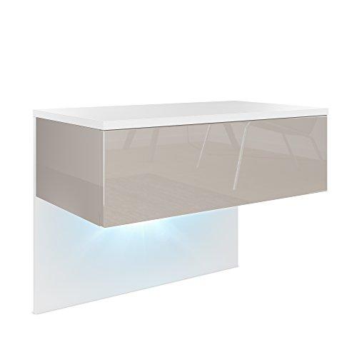Vladon Nachttisch Nachtkonsole Sleep, Korpus in Weiß matt/Front und Seiten in Sandgrau Hochglanz, inkl. LED Beleuchtung