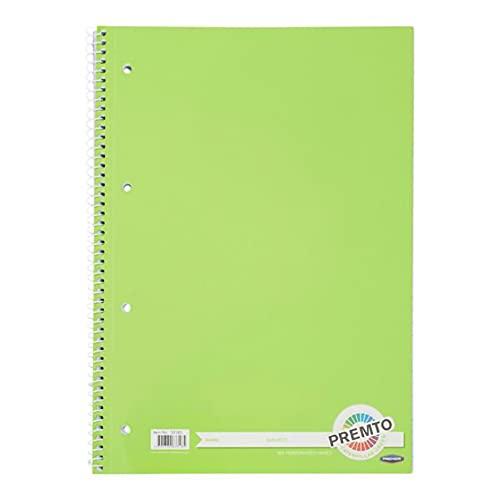 Premier Stationery Cuaderno en espiral Premto A4. 160 páginas perforadas, rayadas con margen. 4 agujeros perforados. Precioso color verde oruga.