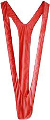 Creamlin - Bañador sexy para hombre, diseño de Borat Manikini Thong rojo Talla única