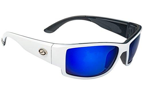 Strike King Plus SG-SKP451 Quachita Polarized Sunglasses Shiny White Black Gray Rubber Frame and White Blue Mirror Gray Base Lens