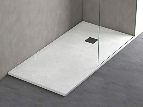 Plato ducha resina antideslizante textura pizarra Smooth Bricodomo 80x180 Blanco