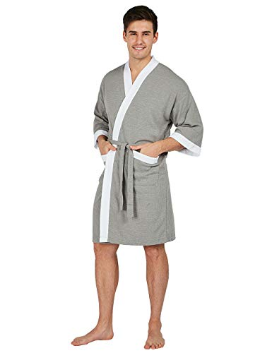 YIMANIE Men's Waffle-Weave Kimono Robe Cotton Spa Bathrobe Lightweight Soft Knee Length Sleepwear Grey-White