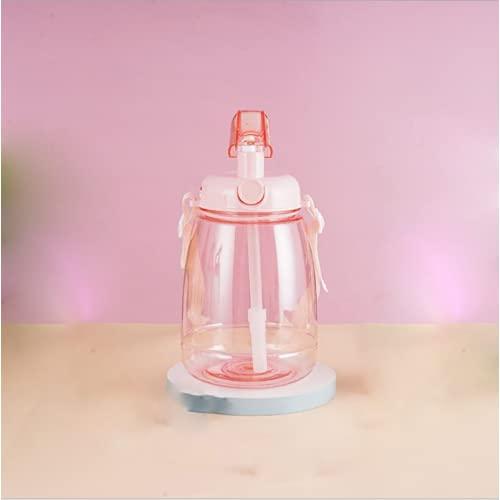YIXINYOUPIN Taza de agua deportiva, botella de paja de gran capacidad, taza de agua para niños con pajita y correa adecuada para gimnasio, fitness, yoga, correr, escuela y camping Rosa