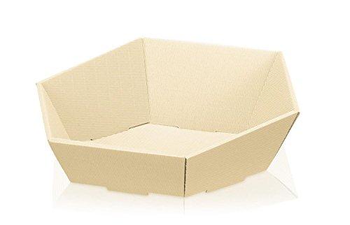 10 Stück Präsentkorb Swing Creme, Geschenkkorb, Wellpappkorb 6-eckig - Größe: groß