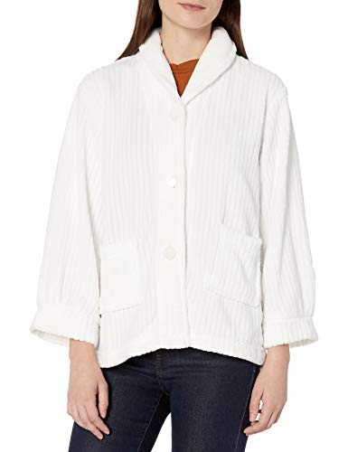 Casual Moments Women's Bed Jacket Shawl Collar Robe, White, Large