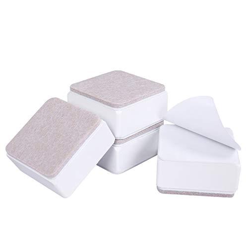 Ezprotekt 3 cm Möbelerhöhung aus Karbonstahl, 6 cm Breit, Selbstklebende Möbelerhöhung Fügt 3 cm Höhe zu Betten, Sofas Schränken, Unterstützt 20.000 lbs, Quadratisch Weiß
