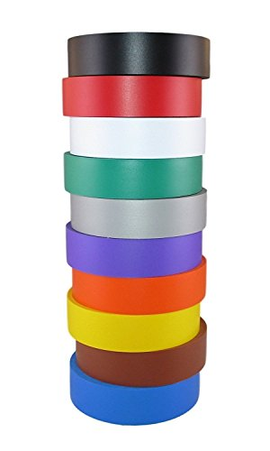 TradeGear Electrical Tape Assorted Matte Rainbow Colors – 10 Pk Waterproof, Flame Retardant, Strong Rubber Based Adhesive, UL Listed – Rated for Max. 600V and 80oC Use –Measures 60' x 3/4 x 0