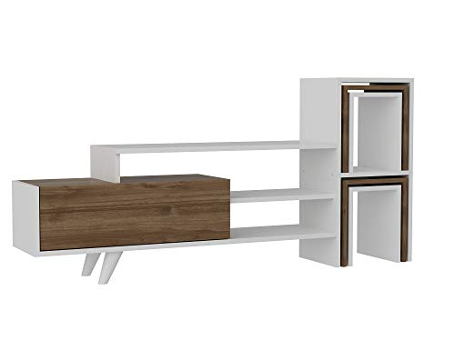 Alphamoebel 2435 Novella K1 Wohnwand Anbauwand TV Lowboard modern, Holz, Weiß Walnuss, Beistelltische inklusive, 155,5 x 74 x 29,5 cm