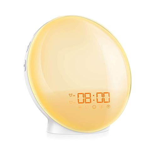 Owsoo Lichtwekker, Wake Up Light, 7 kleurrijke lichten + 7 beltonen + FM-radio + 4 wekkers, 100~240 V, compatibel met Google Assistant en Amazon Alexa, intelligent LED-licht