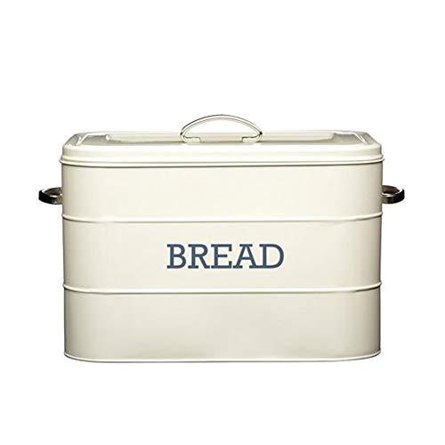 Kitchencraft Living Nostalgie Großer Brotkasten aus Metall, Küchenvorratsbehälter mit Deckel und Griffen, für Brote, Baguettes, Mehl, Brotherstellung, 34 x 21,5 x 25 cm – Antique Cream