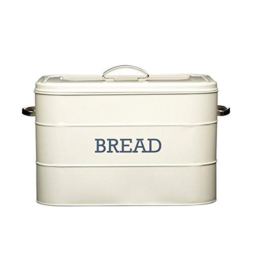 Kitchencraft Living Nostalgia Large Metal Bread Box Bin, Antique Cream