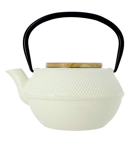 OGO LIVING 7912097 Teekanne aus Gusseisen mit Deckel aus Holz, 1,2 l, Weiß, 18,5 x 18 x 11,5 cm