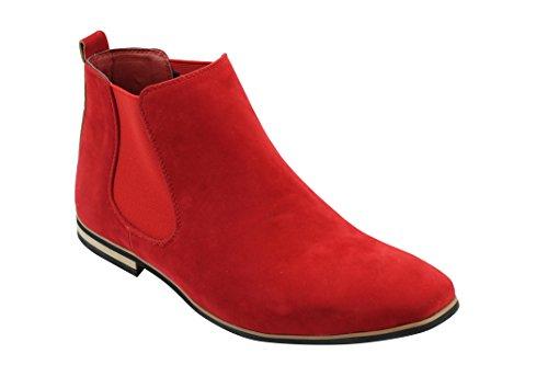 Xposed Herren Wildleder Chelsea Stiefel Italienisch Stil Smart Casual Retro Knöchelschuhe, Gr.-UK 6.5/ EU 40, Rot