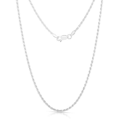 Authentic Solid Sterling Silver Rope Diamond-Cut Braided Twist Link .925 ITProLux Necklace Chains 1MM - 5MM, 16