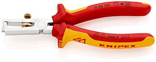 Preisvergleich Produktbild KNIPEX 11 06 160 Abisolierzange verchromt isoliert mit Mehrkomponenten-Hüllen,  VDE-geprüft 160 mm