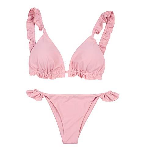 PF Zweiteiliges Bikini-Set für Damen Gepolsterte Badebekleidung mit Volant-Rüschen auf der Oberseite XXS-M - Schwimmkostüm im italienischen Design (291-Pink, S)