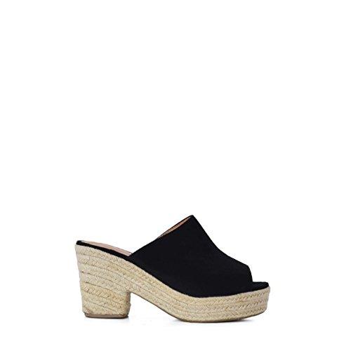 Sandalias Zueco de Plataforma para Mujer en Yute Negro (40 EU)