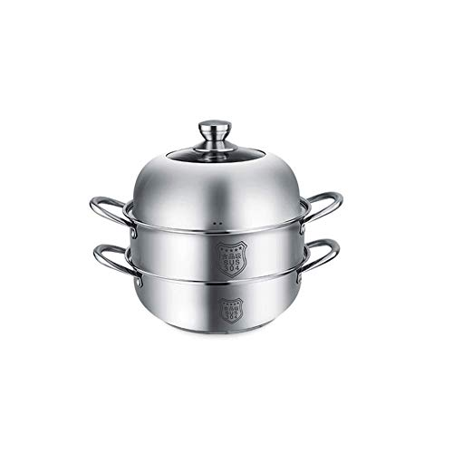 GCE Vaporera de Acero Inoxidable Olla de Sopa de Vapor de 2 Capas Gran Capacidad de 28 cm Olla de Acero Inoxidable Segura con Tapa para porciones saludables de Carne/Verduras vaporera de al