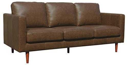 Amazon Brand – Rivet Revolve Modern Leather Sofa Couch, 80'W, Chestnut