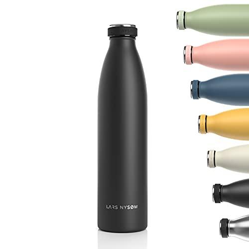 Lars NYSØM Botella de Acero Inoxidable de 1000ml | Botella aislada 1l sin BPA | Botella de Agua 1 litro a Prueba de Fugas para Deportes, Bicicleta, Perro, bebé, niños