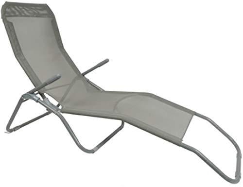 Chaise Longue de Jardin inclinable avec accoudoir Rabattable avec poignée Vert