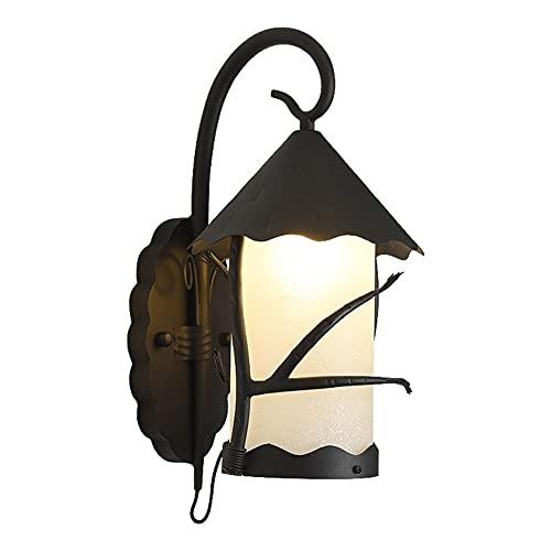 Lámparas de pared de calidad American Exterior Wall Linternas Rústico Industrial Iluminación Al aire libre Iluminación Negro Metal Pórchico Luces Montaje de pared Impermeable Antiguo Aplique Sponces P