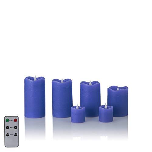 6 LED Echtwachskerzen mit täuschend echter Flamme & Docht, Fernbedienung und Timer (6er Royalblau)
