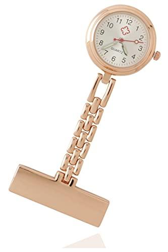 ナースウォッチ 看護師 介護士 医療従事者 懐中時計 逆さ文字盤 時計 ポケット おしゃれ かわいい 大人 女子 ピンクゴールド NosanKossen (ピンクゴールド)